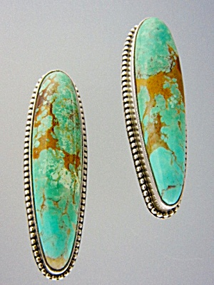 David Troutman Sterling Silver Kingman Turquoise Clips