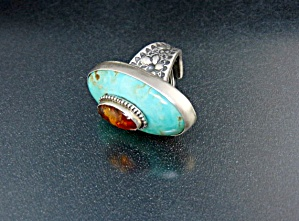 David Troutman Sterling Silver Amber Kingman Turquoise