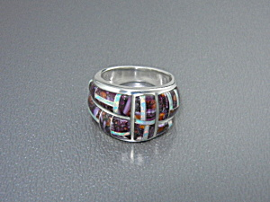 Opal Sugulite Inlays Sterling Silver Studio Gl Ring