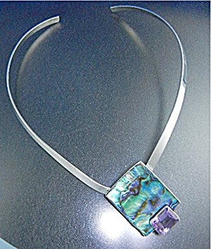 Sterling Silver Collar Marta Howell Amethyst Abalone Pe