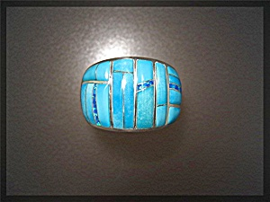 Opal Sleeping Beauty Turquoise Inlaid Ring By Gl