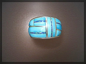 Sterling Silver Sleeping Beauty Turquoise Opal  Inlay R (Image1)