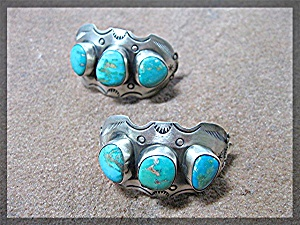 Drew M Ruez Sterling Silver Turquoise Clip Earrings