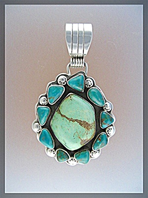 Sterling Silver Turquoise Pendant RAY TAFOYA (Image1)