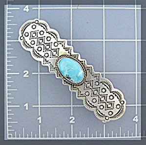 ALBERT McCABE Stereling Silver Turquoise Hair Barrette (Image1)