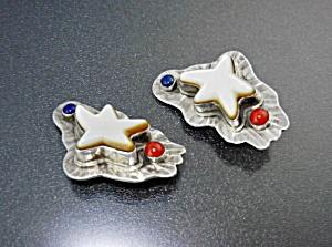 David Troutman & Gundi Coral Lapis Sterling Silver Clip (Image1)