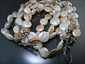 Freshwater Coin Pearls Silver Beads 3 Strand Necklace