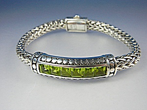 Bracelet Sterling Silver Wheat With Peridot Peggy V