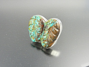 Ring Sterling Silver Carved Turquoise Leaves RPC (Image1)