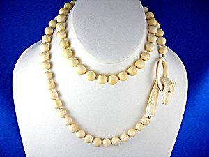 Necklace Pre Ban Ivory Carved Dragon 14k Gold 10mm Bead