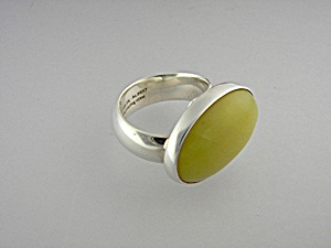 Ring Gold Jade Sterling Silver Charles Albert