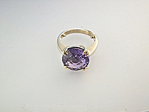 Ring 14k White And Yellow Gold 11 Ct Amethyst