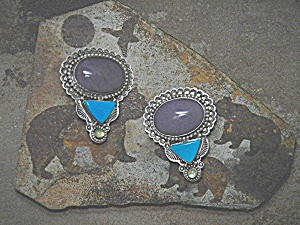David Troutman Sterling Silver Damsonite Turquoise Earr (Image1)