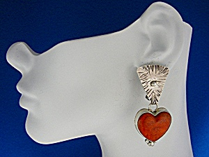 David Troutman Apple Coral Sterling Silver Clip Earring