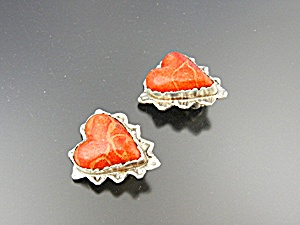 David Troutman & Gundi Apple Coral Sterling Silver Hear