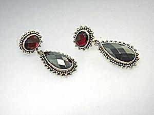 Earrings LORI BONN Pink Topaz Hematite Drops Sterling  (Image1)