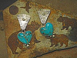 David Troutman & Gundi Turquoise Sterling Silver Heart  (Image1)