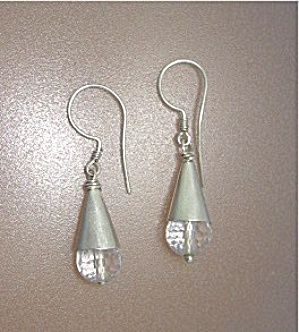 Sterling Silver Crystal Wire Loop Earrings