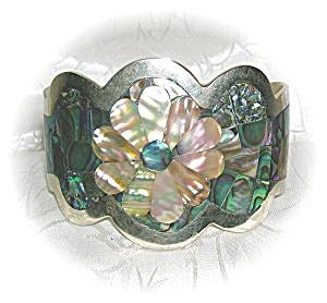 Beautiful Silver & Abalone Flowers Cuff Brace (Image1)