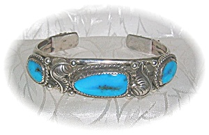 Bracelet Silver Turquoise American Indian Signed W (Image1)