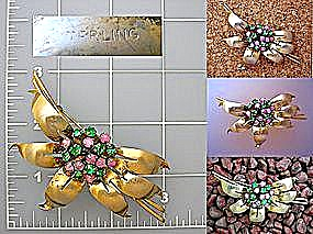 Sterling Silver Gold Vermeil  Pink  Green Stones (Image1)