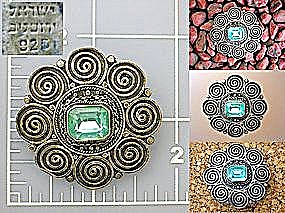 Sterling Silver Aqua glass stone Brooch Pin (Image1)