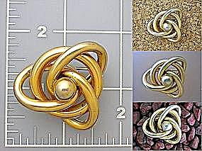 Vintage Brooch Pin, Goldtone knot (Image1)