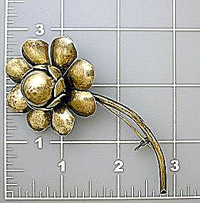 Vintage Silver Brooch Pin Flower (Image1)