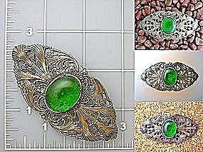 Vintage Brooch, pin with green cabochon stone. (Image1)