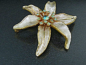 Gold Borealis Crystals Flower Brooch BSK (Image1)
