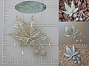 Sterling Marcasite Flower Berry Leaf Brooch (Image1)
