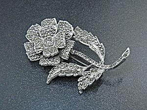 Silver  Marquisite Rhodium Flower Brooch (Image1)