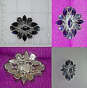 Brooch pin Vintage sapphire blue crystal (Image1)