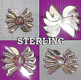 Sterling Silver brooch Amethyst Glass Vintage (Image1)