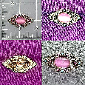 Filigree brooch pin pink turquoise pearl cabochon (Image1)
