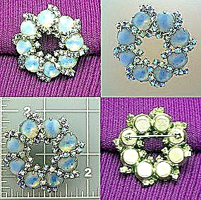 Crystals Glass Moonstone Silver Tone Brooch 60s (Image1)