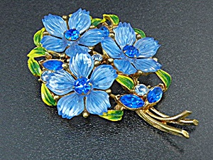 Enamel Blue Green Crystal Flower Bouquet Brooch (Image1)