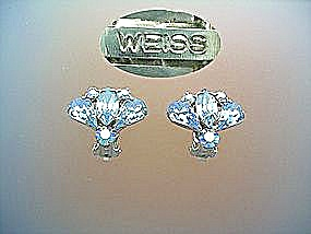 WEISS Clip Earrings blue crystal Vintage (Image1)