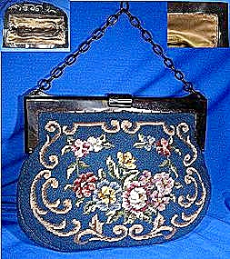 Lucite Frame Blue Needlepoint Lucite Links Bag