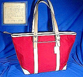 COACH Canvas and Leather Tote in Red (Image1)