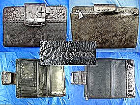 Brighton Checkbook Wallet Black Tan Leather