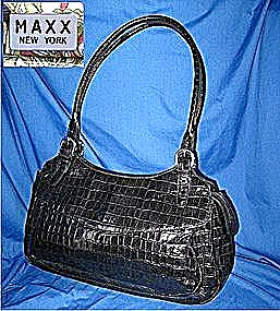 Maxx Mock Croc Bag Black Patent Leather
