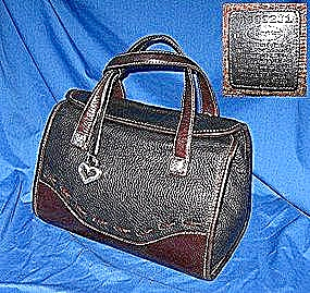 Brighton  Black Brown Pebble Leather Bag (Image1)