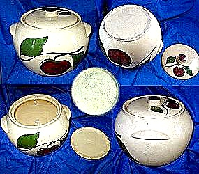 Watt Pottery Bean Pot And Lid  Apple Pattern (Image1)