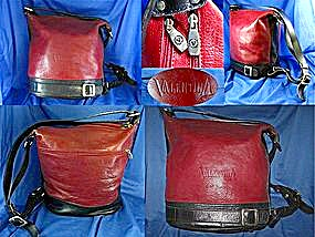 Valentina Red Black Leather Shoulder Bag