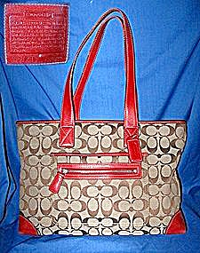 Coach Red Leather Fabric Signature Bag (Image1)
