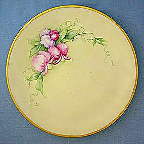 Hand Painted China Plate Saxony Purple Orchids