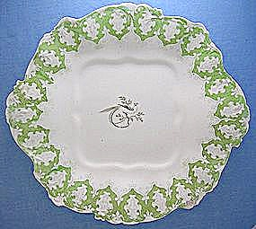 White Enamel China Plates w  grn Floral Trim  Bird (Image1)