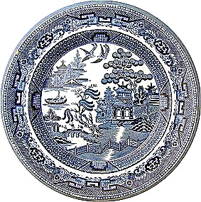 Flow Blue dinner plate Bisto England FWB 9 1/2 in (Image1)