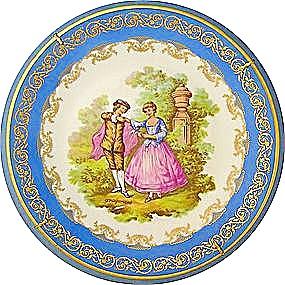 Limoges Porcelaine Plate Enlumine Main (Image1)